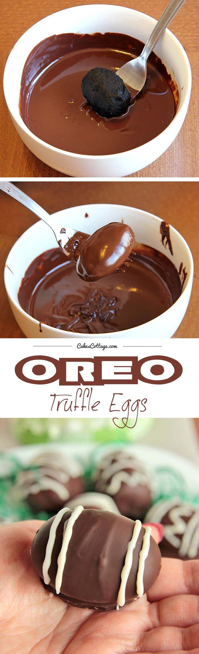 Easter is on the way and so are the Oreo Truffle Eggs! And if you have been searching for a quick and easy, totally adorable, Easter gift, look no further. | cakescottage.com | #easter #oreo #eggs