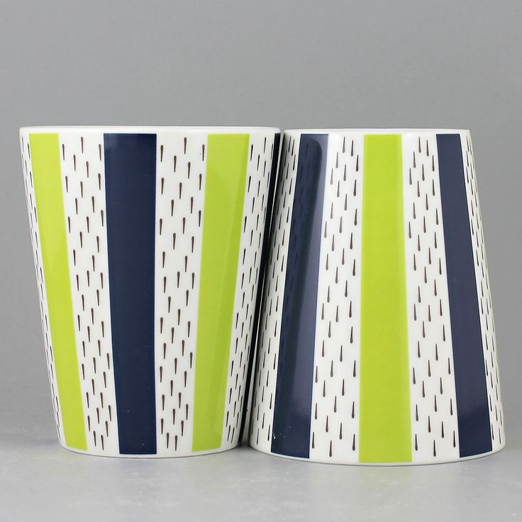 Stig Lindberg (Olive Tree) Two Colorful Cups