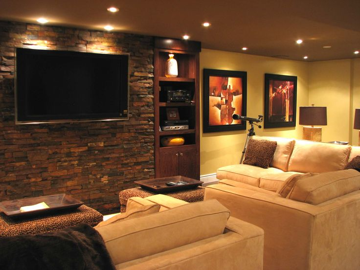 Basement Cozy Family Room Decorating Ideas With Natural Brick Wall And Custom Wood Shelving Beige Sofa Cushion Adorable