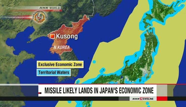 Míssil norte-coreano cai na Zona Econômica Exclusiva do Japão. O míssil lançado pela Coreia do Norte parece ter na Zona Econômica Exclusiva do Japão, no Mar
