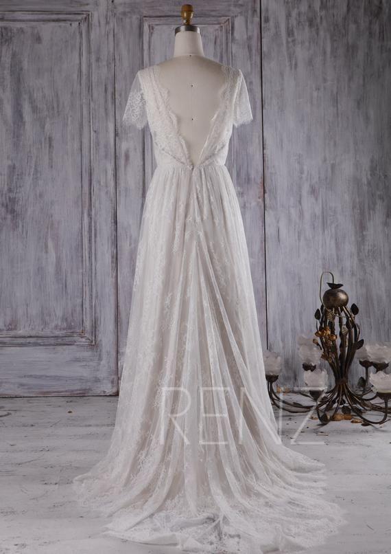 hochzeitskleid boho spitze weiß kurzarm braut kleid v hals