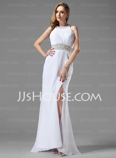 Prom Dresses - $142.99 - A-Line/Princess Scoop Neck Sweep Train Chiffon Prom Dresses With Ruffle Beading (018004915) http://jjshouse.com/A-Line-Princess-Scoop-Neck-Sweep-Train-Chiffon-Prom-Dresses-With-Ruffle-Beading-018004915-g4915