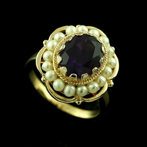 Inspired by Victorian Style Oval Amethyst Scalloped by OroSpot
