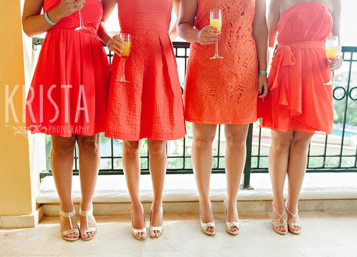 coral bridesmaid dress with gold shoes and accessories
