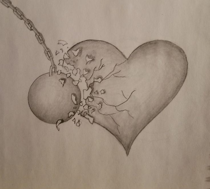 Graphitzeichnung Des Defekten Herzens Zerbrochene Traurige Abrissbirnenkunst Abr Gebrochenes Herz Zeichnungen Graphitzeichnungen Traurige Zeichnungen