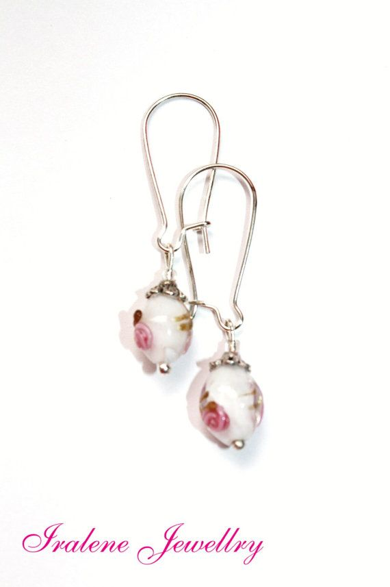 White pink Rose lampwork glass earrings Dangle by IraleneJewellry, $1.95