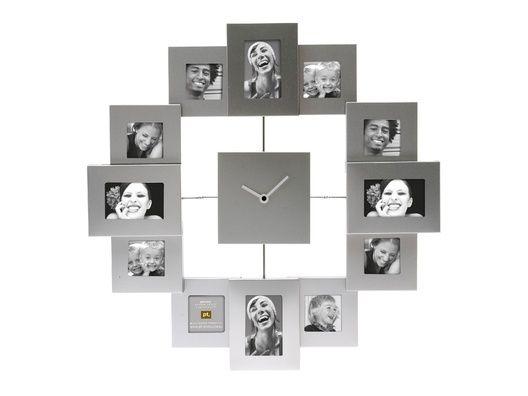 FAMILY TIME FALIÓRA. Vicces családi falióra képkeretekkel, alumíniumból.