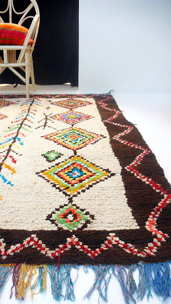 Vintage Moroccan Wool Rug  AZILAL Diamonds por lacasadecoto en Etsy