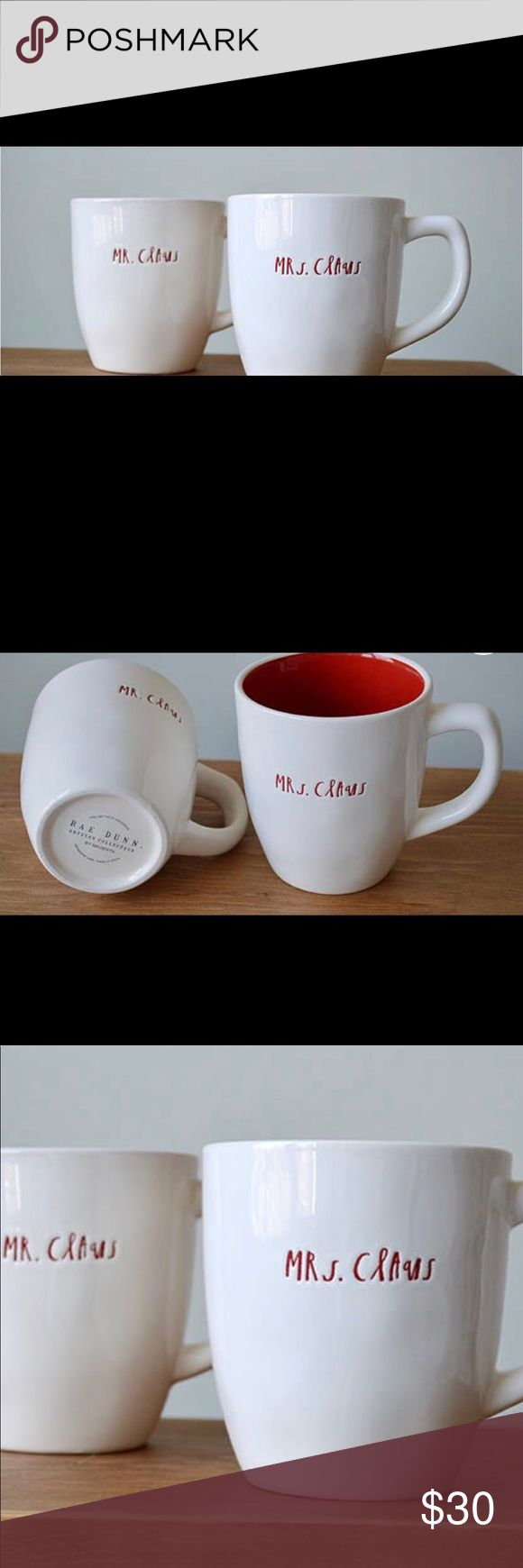 Authentic Rae Dunn Mr. & Mrs. Claus Christmas Mug This is for the coveted set! I have three sets for sale. This listing is for one set which includes:  1 Mr. Claus, Red Small Cursive Letter, Single Sided  1 Mrs. Claus, Ref Small Cursive Letter, Single Sided    Please note: All Rae Dunn Products have perfect imperfections.   These pieces are great for everyday use (dishwasher and microwave safe), to display as a collection, and also make a great gift! Other