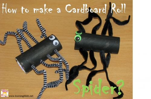"""How to make a Cardboard Roll Spider? Great craft activity for halloween or linking to the book """"One Hungry Spider by Jeannie Baker"""" {learning4kids.net}"""