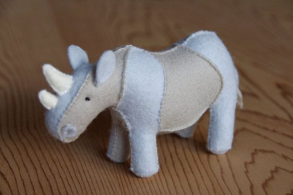 Felt Rhino Soft Toy Sewing Pattern PDF by BrookeLoriDesigns