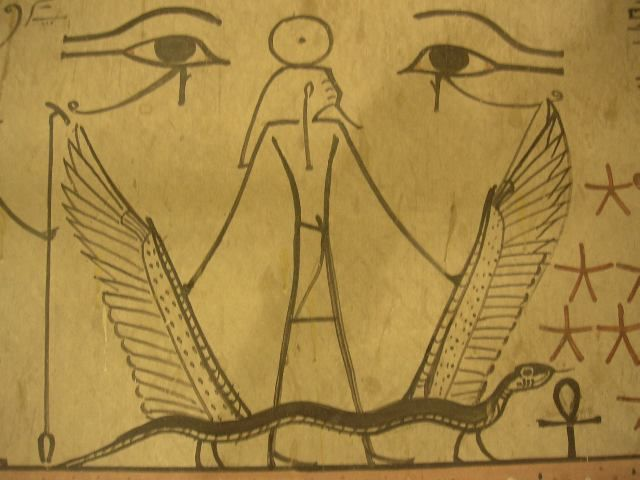 The god Sokar, looking cheery, from the 11th Hour of the Amduat in the tomb of Thutmose III.