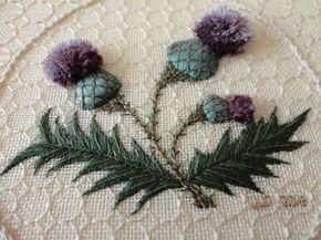 Stumpwork Embroidery - Thistle