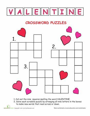 crossword worksheets and valentines day on pinterest. Black Bedroom Furniture Sets. Home Design Ideas