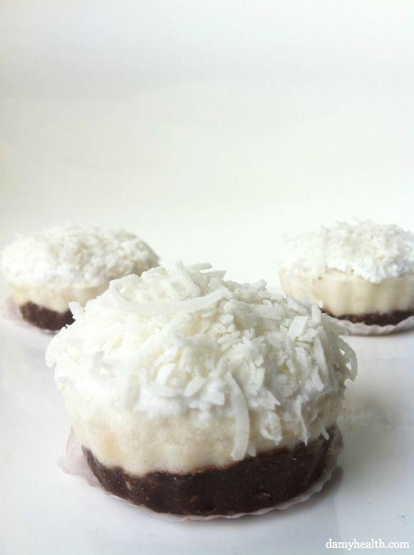Coconut Cream Pies With Dark Chocolate Crust (w/cashews, coconut oil, cocoa, banana, coconut cream)