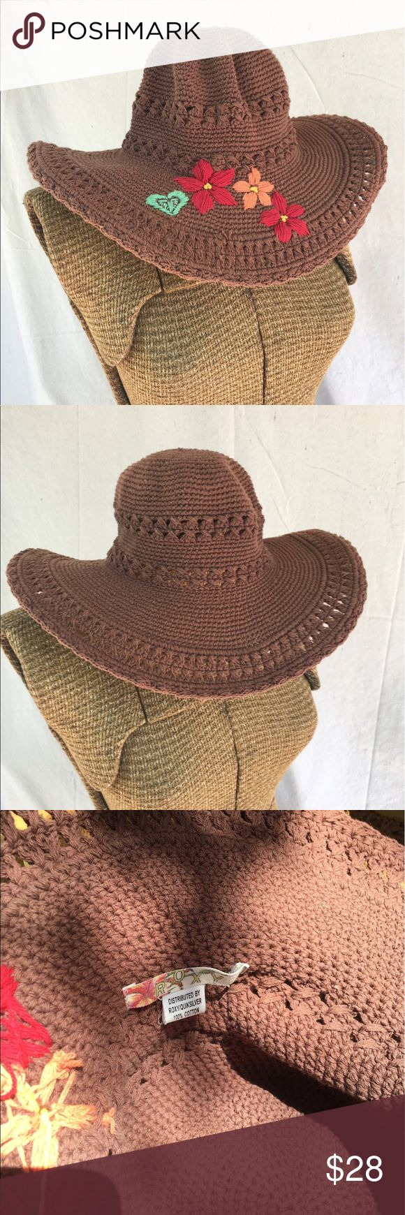 Vintage embroidered Roxy woven hat Chocolate brown summer hat with red, orange, and green embroidered flowers and heart.  Woven design with flexible styling brim.  Roxy brand - vintage, boho, bohemian, summer, vacation, beach Roxy Accessories Hats