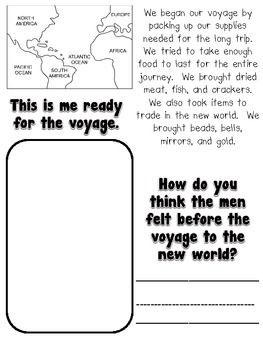 Christopher Columbus -Good coop activity  FREE printable columbus day voyage packet, arrange to pretend Columbus' voyage with a group of children.  Some pretend to be on voyage and ration crackers and jerky, then meet with other children (N.A.) and trade trinkets for popcorn and other neat items (feathers, shells, cotton balls, beads, etc.)