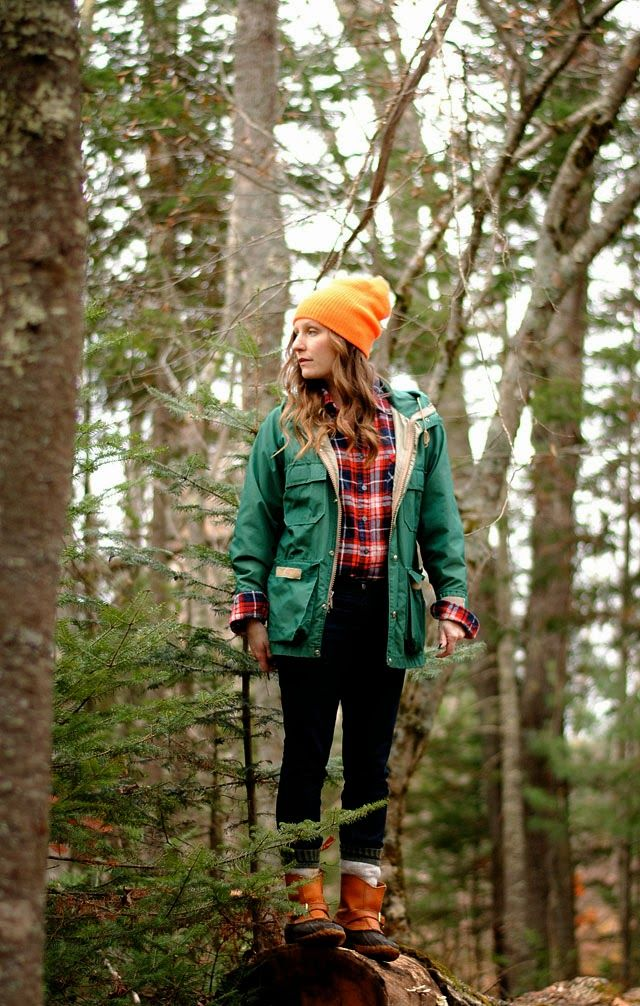 Woodland outfit: vintage LL Bean jacket & hunting boots, flannel shirt, wool socks, slouchy hat, & skinny jeans. #lumberjack #lumberjackchic
