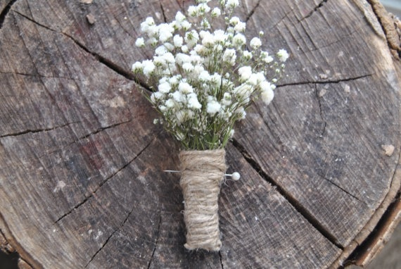 Our best seller! Babies breath boutonniere.