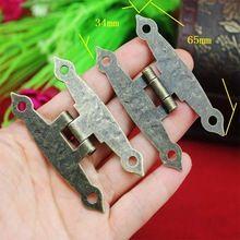 Kastdeur Bagage Scharnier, 4 Gaten Decor, Meubels Decoratie, Antieke Vintage Oude H Scharnieren, Brons Tone, 65*34mm, 20 Stks(China)