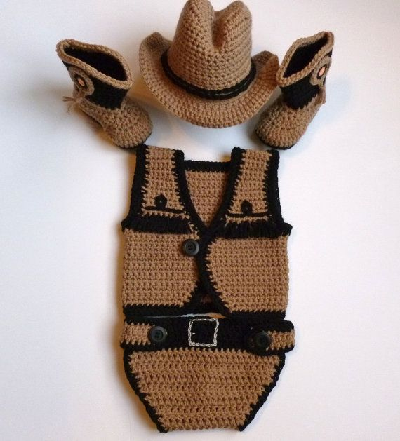 Free Crochet Pattern Baby Cowboy Chaps : Baby Boy, Crochet, Taupe Cowboy Vest, Diaper Cover, Hat ...