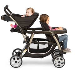 Meet the most versatile baby stroller! With 12 riding options (a great feature among strollers!), from infant to youth, your kids will love getting out and about. The Ready2Grow Click Connect Double Stroller, Gotham, accepts TWO Graco SnugRide Click Connect Infant Car Seats, America's #1 selling infant car seats, has a standing platform and bench seat for your older child, and a removable Face Time rear seat for some bonding time with baby! A high-quality…