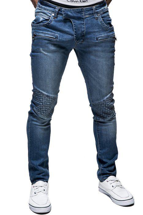 BALANDI Pantalón de hombre de cintura baja y tallaje ajustado (estilo chino vaquero); Tamaño S, azul