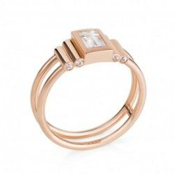 Rose gold and diamond modern engagement ring