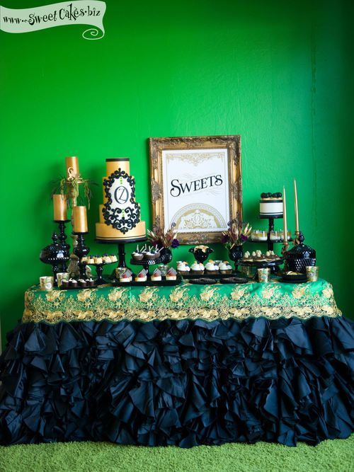 Oz Inspired Black Gold And Emerald Green Dessert Table Wedding Cake With Couture Linens