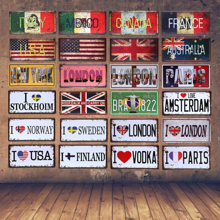 The National Flag Car License Plate France Australia London Brazil Vintage Tin Sign Italy Mexico Canada Wall Art Metal Poster-in Plaques & Signs from Home & Garden on Aliexpress.com | Alibaba Group