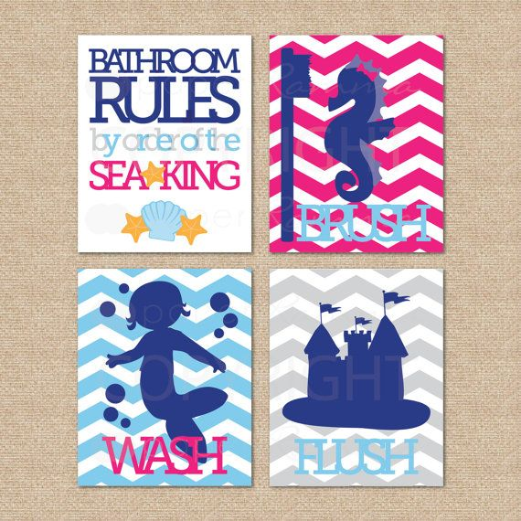 Mermaid Bathroom Rules By Order Of The Sea King Wash Brush Flush 4 Print Set Kids Bathroom Gicl E Prints N L05 4ps Aa1