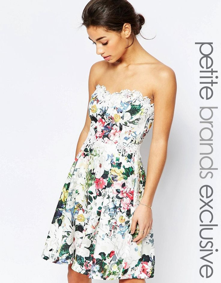 Paper+Dolls+Petite+Bandeau+Printed+Prom+With+Lace+Detail