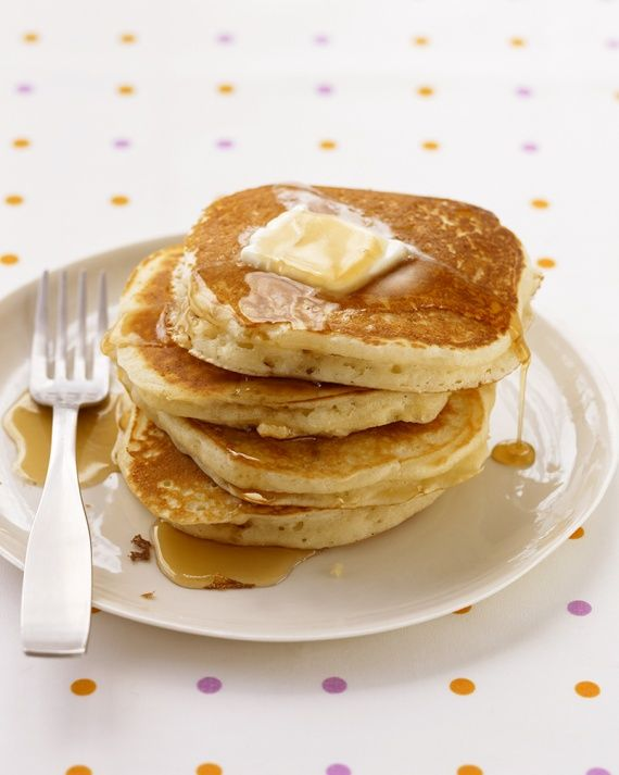 """Easy Basic Pancakes: Nothing says """"weekend"""" like easy homemade pancakes for breakfast. Our easy pancake recipe will help you easily whip up this weekend favorite in less than 30 minutes! When you see how easy it is to make delicious, light, and fluffy homemade pancakes from scratch, you'll wonder why you never tried the recipe before!"""