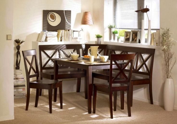Dining Room:Delightful Dining Room Furniture Sets For Small Spaces With Wooden Table And Chairs Also Books Lamp Picture Frame Plants Into Vases With Flower In A Pot With White Wall Also Wired Curtains On Windows And Rugs Enchanting Elegant Small Dining Room Sets with Modern Furniture for Your Little Family