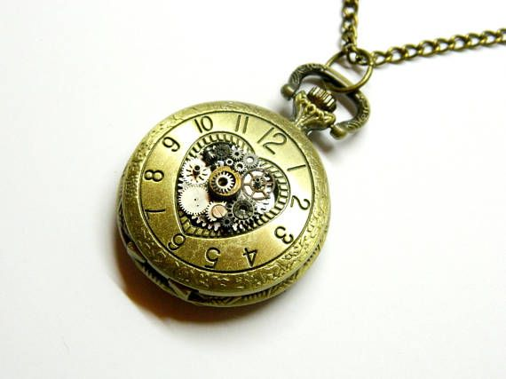 Pocket watch The Heart of Time steam punk necklace