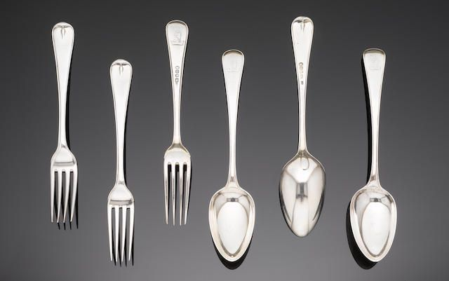 George III silver Old English, Thread and Drop pattern flatware, by Richard Crossley, London 1787