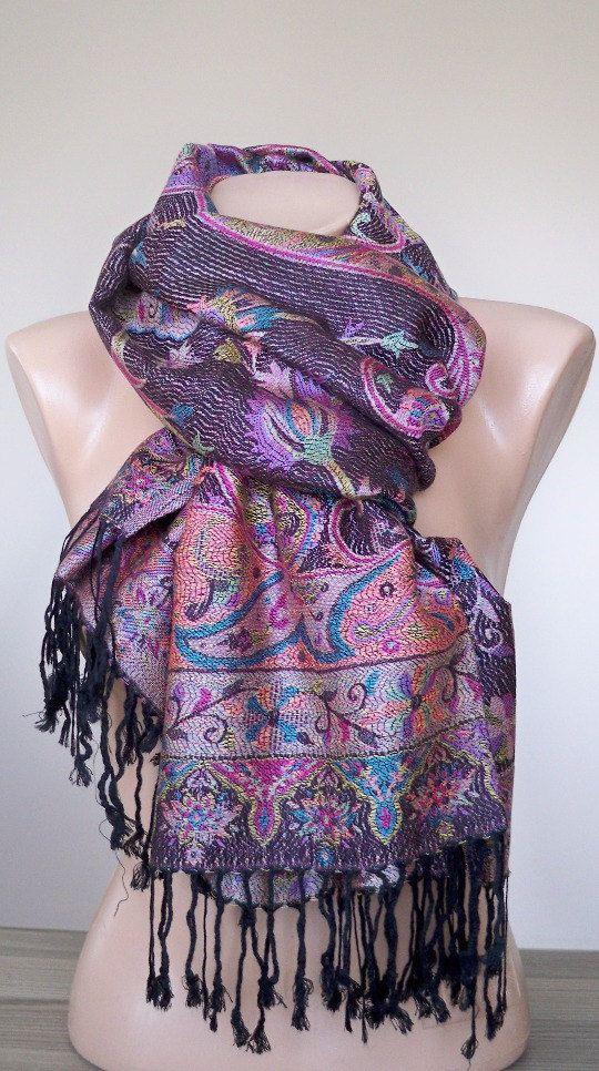 Zwarte paarse Pashmina Turkse authentiek sjaal etnische Print