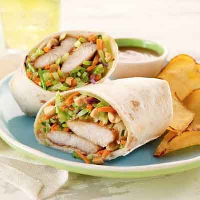 These quick and easy wraps are full of flavor and served with a peanut sauce.