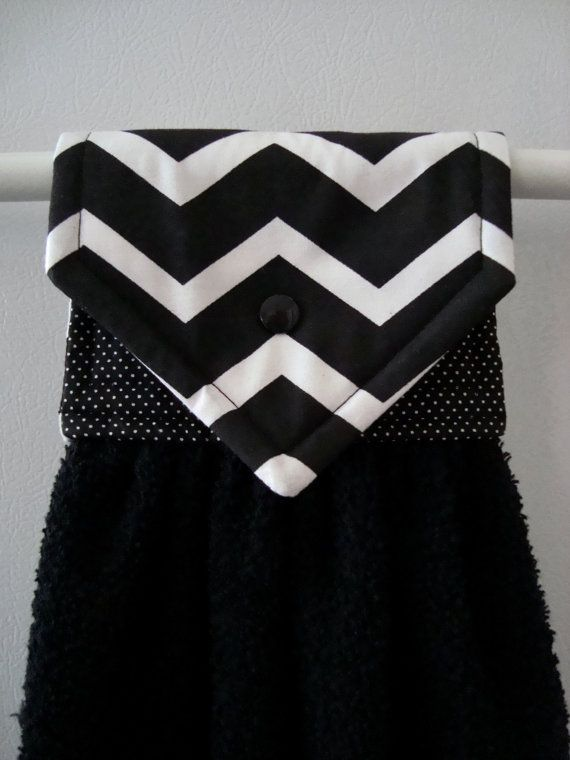 Hanging Hand Towel Black Chevron Hanging by MarlenesSewingRoom, $8.50