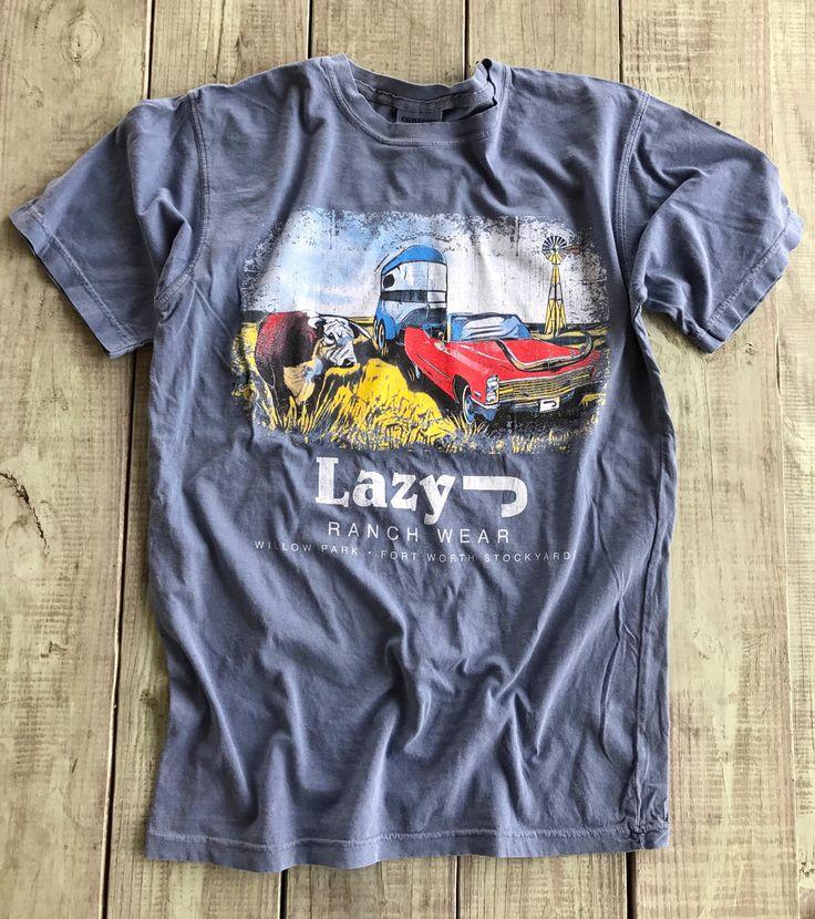 Lazy J Hereford Bull & Ol' Caddy Blue Comfort Color Shirt