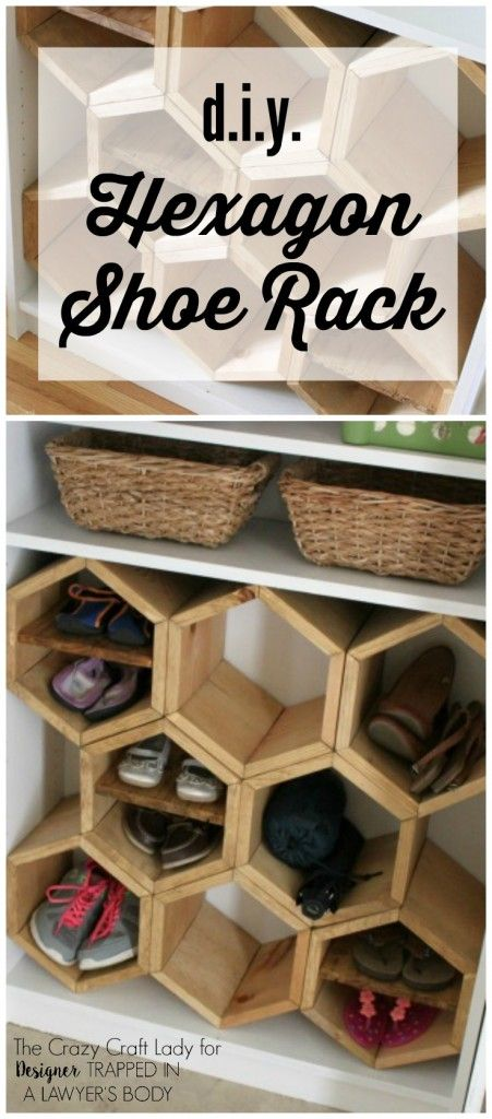 GENIUS!  Make a DIY shoe rack using an old bookshelf and making hexagon inserts to hold the shoes!