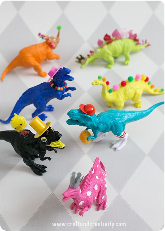 "Kids Craft Project for DIY Painted Dinosaurs from Craft & Creativity Blog! Plus more DIY kids crafts projects to keep the kids occupied so you can enjoy some ""me"" time!"