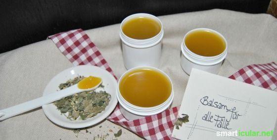 Eine Salbe für viele Wehwehchen. Mit Baumharz, Öl, Wachs und ätherischen Ölen stellst du schnell und natürlich vielseitige Heilsalben her.