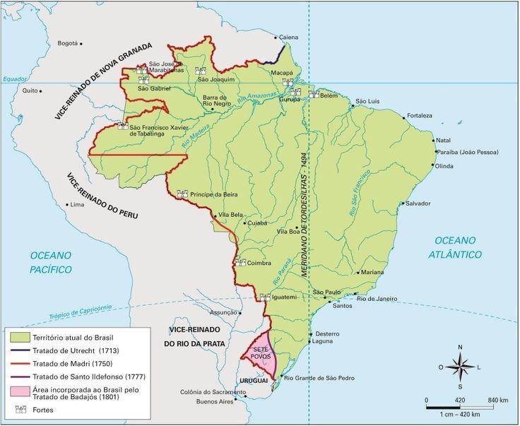 Mapa dos tratados de limites que estabeleceram as fronteiras do Brasil entre 1494 a 1801