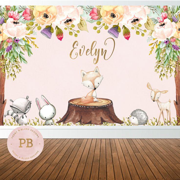 Digital Woodland Birthday Backdrop, Woodland Baby Shower -9590