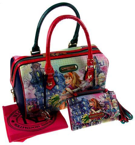 Nicole Lee Handbag & Wallet Set Tulip Girl Shopping Boston TUL10673 Purse Bling