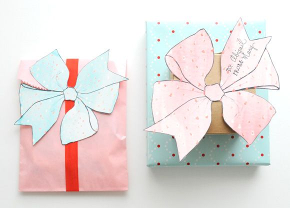 Printable Bow Gift Topper/Tags (by me, for you): Idea, Paper Bows, Bows Gifts, Creatures Comforter, Gifts Wraps, Gift Tags, Free Printable, Gifts Tags, Crafts