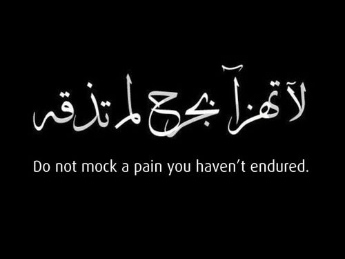 Do not mock a pain you haven't endured....I believe this COMPLETELY. Don't make fun of people or things you do not understand, everyone has their own cross to bear, you never know what life may bring, pray for people and God to help you always to have compassion.