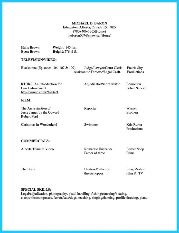 Good Acting Resume. 81 Appealing Free Sample Resume Examples Of
