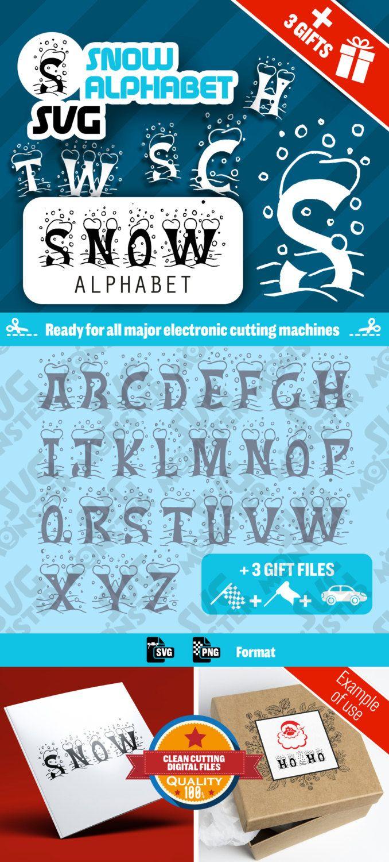 SVG SNOW ALPHABET svg Christmas Xmas • Cut Files for Electronic Vinyl Cutter • png • Cricut Design Space, Silhouette letter word • 023 de la boutique SVGmonster sur Etsy